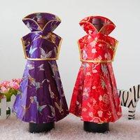 princesa natal decorações venda por atacado-Princesa vestido de forma garrafa de vinho de natal saco capa de seda chinesa brocado de seda bolsa de festa decoração de mesa de casa cobre sacos de vinho 10 pcs / l
