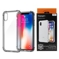 Wholesale Corner Plastic - Spigen High Transparent Clear Phone Case Four Corners With Air Bag For iPhone X, iPhone 8, 7, 6 Plus, with Retail Package