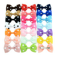 Wholesale diy tie clip - 2.75 Inch Dots Boutique Grosgrain Ribbon Girl Small Bow Elastic Hair Tie Clip Hair Band Bow DIY Accessories Best Gift 1PCS