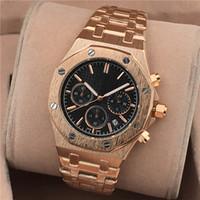 relógios cronógrafo venda por atacado-2018 nova moda de luxo relógio para homens cronógrafo de quartzo dos homens relógios vestido de aço inoxidável analógico relógios de pulso relogio montre melhor presente