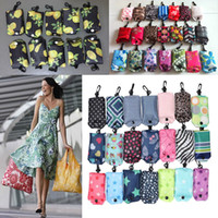Wholesale nylon reusable folding shopping bags - Newest Nylon Foldable Shopping Bags Reusable Storage Bag Eco Friendly Shopping Bags Tote Bags Free Shipping WX9-199