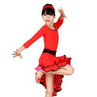 танцевальные платья танго оптовых-Girl Long Sleeves Latin Dance Dress Children Ballroom Dance Dresses Kids Salsa Rumba Cha Cha Samba Tango Dress