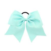 grosgrain große band haar bow großhandel-Großhandel Artikel 8 Zoll große feste Cheer führenden Ribbon Bows Grosgrain Cheer Bows Krawatte mit Gummiband / Girls Rubber Hair