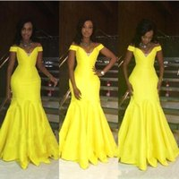 vestidos de brasil venda por atacado-Moderno e Limpo Longo Vestidos de Baile 2019 Sereia Fora Do Ombro Até O Chão Longo Sexy Africano Brasil Mulheres Do Partido Do Vestido de Noite