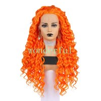Wholesale kinky curl hair ombre online - Orange Kinky Curl Density Hair Long Loose Curly Synthetic Lace Front Wigs for Black Women