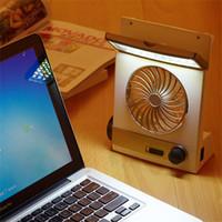 lampara led mini fan al por mayor-Ventilador portátil 3 en 1 Mini ventilador multifunción LED Lámpara de mesa Linterna Luz solar para el hogar Ventilador solar para acampar al aire libre