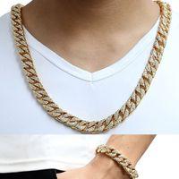 pulsera de plata para hombre al por mayor-14mm Cool Mens Chain Gold Silver Hip Hop Full Rhinestones Necklace Curb Cuban Link Chain and Bracelets Set