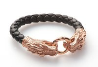 Wholesale quality womens bangles for sale - Group buy Top quality Genuine Leather Bracelet L stainless steel rose gold plating dragon leather bracelet for mens and womens AB095