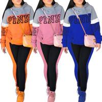 Wholesale Martial Arts Outfit - PINK Letter Print 2 piece Set Women Plus Size Top And Pants Casual Long Sleeve Outfit Sweat Suits 2pcs Sweatshirt Tracksuit Sporting Suit