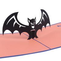ingrosso carte di halloween fatte a mano-Cartolina d'auguri creativa di Halloween fatta a mano 3D cartolina di blocco di carta di POP UP per gli amici Regalo di Halloween per le feste in costume