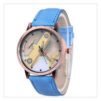relógios de pulso venda por atacado-Venda quente de Moda E de Boa aparência Unisex Retro Denim Homens Mulheres Plana Analog Quartz Strap Relógio de Pulso