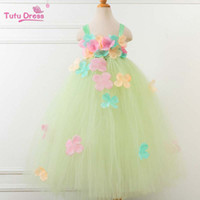 Wholesale green pettiskirt baby - Ins 2018 new floral long Girls Princess Dresses birthday baby Dresses tutu Fashion Dresses Pettiskirt Tutu Dress Costume Girl Dress A1578