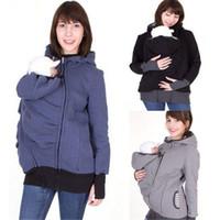 Wholesale zip up tops online – oversize Women Autumn Winter Baby Carrier Hoodie Zip Up Maternity Kangaroo Hooded Sweatshirt Pullover In Outerwear tops colors C3675