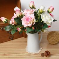 wedding velvet NZ - Artificial Velvet Rose 3 Heads Flower DIY Silk Flower for Party Home Wedding Holiday Decoration 8 Colours 1PC