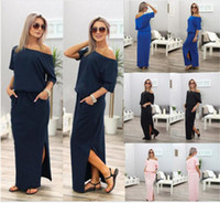 Wholesale Sexy Summer Women Boho Maxi Dress Short Sleeve Side Slit Loose Evening Party Long Beach Dress with Pocket Vestidos