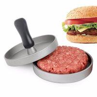 Wholesale hamburger paper - Non Stick Hamburger Press Aluminum Alloy 11 cm Hamburger Meat Beef Grill Burger Press Patty Maker Mold Gift box with Oil Paper