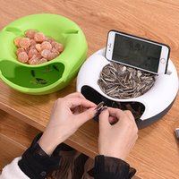 fruit drying NZ - Storage Box Plate Dish Tray with Mobile Phone Stents Organizer Creative Melon Seeds Nut Bowl Table Candy Dry Fruit Holder