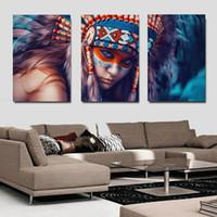 ingrosso dipinti indiani americani-3 Pannello Home Decor Wall Art Canvas Paintings Native American Indian Girl Piuma Moderna Pittura Per Soggiorno Parete