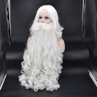 weißer bartcosplay großhandel-Sankt Bart voller Satz von hohen weißer alten Mann Bart Weihnachten heißer Perücke