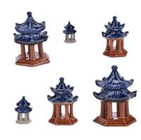 ingrosso china gardening-Cina Mini Pavilion Modello Fairy Garden Miniature Fai da te Casa delle bambole Terrario Home Desktop Piante grasse Micro Paesaggio Decorazione