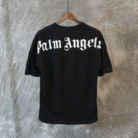 Wholesale Oversized Letters - Palm Angels T shirt White Black Letters Print Summer Tees Men Women Oversized Tee Shirt Hip Hop Street Tops LXG1203