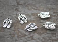 20728fc82cc8 Wholesale flip flop charms for sale - 30PCS Slippers Charm D Antique silver  tone Flip Flops