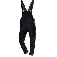 tulum tarzı moda toptan satış-Erkek Slim Fit Kadife Pantolon bahar Erkekler için Sıska siyah kadife önlüğü tulum Moda Japonya Tarzı jartiyer tulumlar 122901