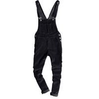 macacões com calças venda por atacado-Mens Slim Fit Calças De Veludo para homens da primavera magros macacão de veludo cotelê preto Moda Japão Estilo suspensórios macacões 122901
