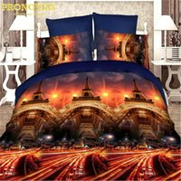 Wholesale Queen Bedding Sheet Sets - amazing 3d eiffel tower cars football boutique bedding set duvet cover bed sheet pillow cases 4pcs,queen size,gift bed linen