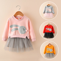 Wholesale Orange Cartoon Pictures - Cute Cotton Baby Girl Dress Flower Girl Dress Long Sleeve Cartoon Infant Princess Tutu Toddler Gowns Splicing Gauze Pageant Party Clothes