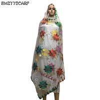 простые женские шарфы оптовых-Новые африканские шарфы мусульманские равнина вышивка женщины большой чистый шарф для шали пашмины D18102905