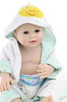 Wholesale Dolls Clothes Bjd - Free Shipping! 22inch Full Silicone Body Reborn Doll Reborn Boy Robes Realistic Clothes Can Bath Bebe Alive Brinquedos Bonecas