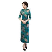 uzun kollu qipao elbisesi toptan satış-Şangay Hikayesi En Kaliteli 3/4 kollu Uzun çin elbise Sahte Ipek cheongsam kadın Qipao çince geleneksel elbise