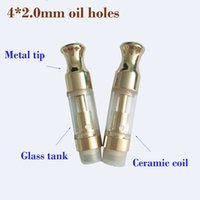 Wholesale f1 metal - custom logo For pyrex Glass bho Thick oil cartridge Golden ceramic coil atomizer ecig vape pen tank F1 Th205 with metal Round tip