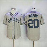 Wholesale double buttons - Josh GIBSON #20 Homestead Grays Negro League Button Down Jersey Grey Men's Double Embroidery and Stitched Baseball Jerseys