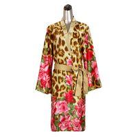 ingrosso camicie da stampa di leopardo-2PC Ladies Leopard Rose Stampa Satin Kimono Accappatoio Solid Camicia da notte Set Autunno Morning Dressing Gown Sleepwear Indoor Clothing