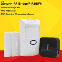 комплект для сигнализации дверной коробки оптовых-Sonoff RF Bridge 433MHZ Wifi Wireless Signal Converter PIR 2 Sensor/ DW1 Door & Window Alarm Sensor for Smart Home Security Kits