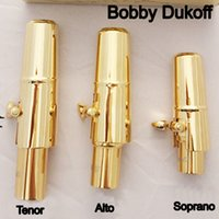 Wholesale ligature for alto saxophone - Brand New Bobby Dukoff Gold Plated Tenor Soprano Alto Saxophone Mouth Piece Sax Metal Mouthpiece + Cap + Ligature Size 56789