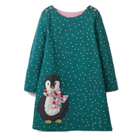 Wholesale european baby clothing online - Baby Girls Autumn Dress Unicorn Zebra Birds Christmas Dress Princess Animal Appliques Kids Cotton Dresses Children Spring Clothes