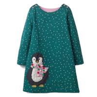 roupas de princesa para crianças venda por atacado-Meninas do bebê vestido Unicórnio pinguim Appliqued vestido de natal princesa manga comprida túnica 100% algodão vestido crianças Designer de roupas infantis