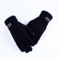 Wholesale korean wool gloves - Winter Men Knitted Gloves Touch Screen Wool Mittens glove tactical Thick Warm Outdoor Plaid Striped Driving Korean Gloves LW37