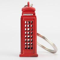 london-modell großhandel-40pcs Nette britische Miniatur London Modell Telefonzelle Schlüsselanhänger Schlüsselanhänger Souvenir