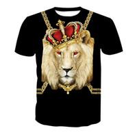 camisa fresca do leão venda por atacado-Echoinne Plus Size 6XL Mais Novo 3D Impressão Relâmpago leão Cool T-shirt Dos Homens de Manga Curta de Verão Tops Tees T shirt Moda
