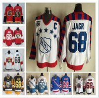 siyah mavi alev toptan satış-Ücretsiz Kargo All-Star 68 Jaromir Jagr Florida Panterler Calgary Flames Jersey Dikişli Logolar CCM Siyah Mavi Sarı Hokey Formalar