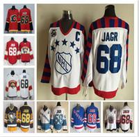 logotipos de estrela azul venda por atacado-Frete grátis All-Star 68 Jaromir Jagr Florida Panthers Calgary chamas Jersey costurado logotipos CCM preto azul amarelo camisas de hóquei