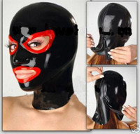 Wholesale women exotic costumes for sale - new hot exotic women black spliced Latex hoods female open eyes mouth mask customized handmade Hot teddy babydoll