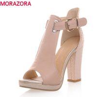 Wholesale Wedding Flat Sandals For Women - 2017 hot fashion summer sandals sexy peep toe women's high heels platform shoes woman buckle wedding shoes sandals for women