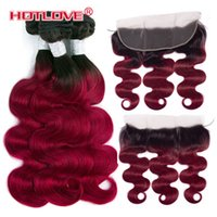 Wholesale Malaysian Ombre Bundles with Frontal Closure inch Body Wave Human Hair Weaves Bundles with Closure T1B J Burgundy