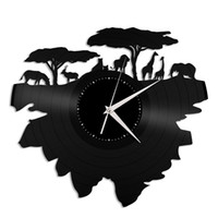 Wholesale wild decor for sale - Group buy Wild animals vinyl record wall clock modern home decor light wall art kitchen bedroom living room decorations christmas personalized gifts