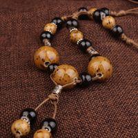 ожерелья ручной работы керамические привески оптовых-леопардовый керамические бусины этнические ожерелье, ручной плетеный Цзиндэчжэнь керамические ювелирные изделия старинные длинные подвески свитер ожерелье